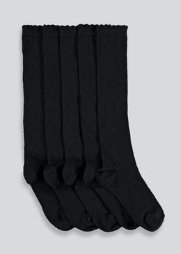 Girls 5 Pack Black Diamond Knee High Socks (Younger Kids 6-Older Kids 5.5)