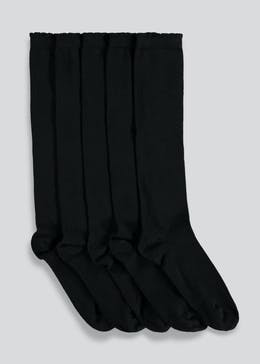 Girls 5 Pack Black Knee High Socks (Younger Kids 9-Older Kids 5.5)