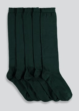 Girls 5 Pack Green Knee High Socks (Younger Kids 6-Older Kids 5.5)