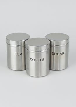 Set Of 3 Stainless Steel Storage Canisters (13cm x 10cm)