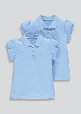 Girls 2 Pack Embroidered School Polo Shirts (3-13yrs)