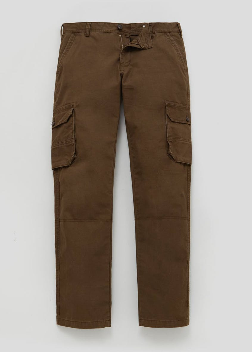 Straight Fit Canvas Cargo Trousers