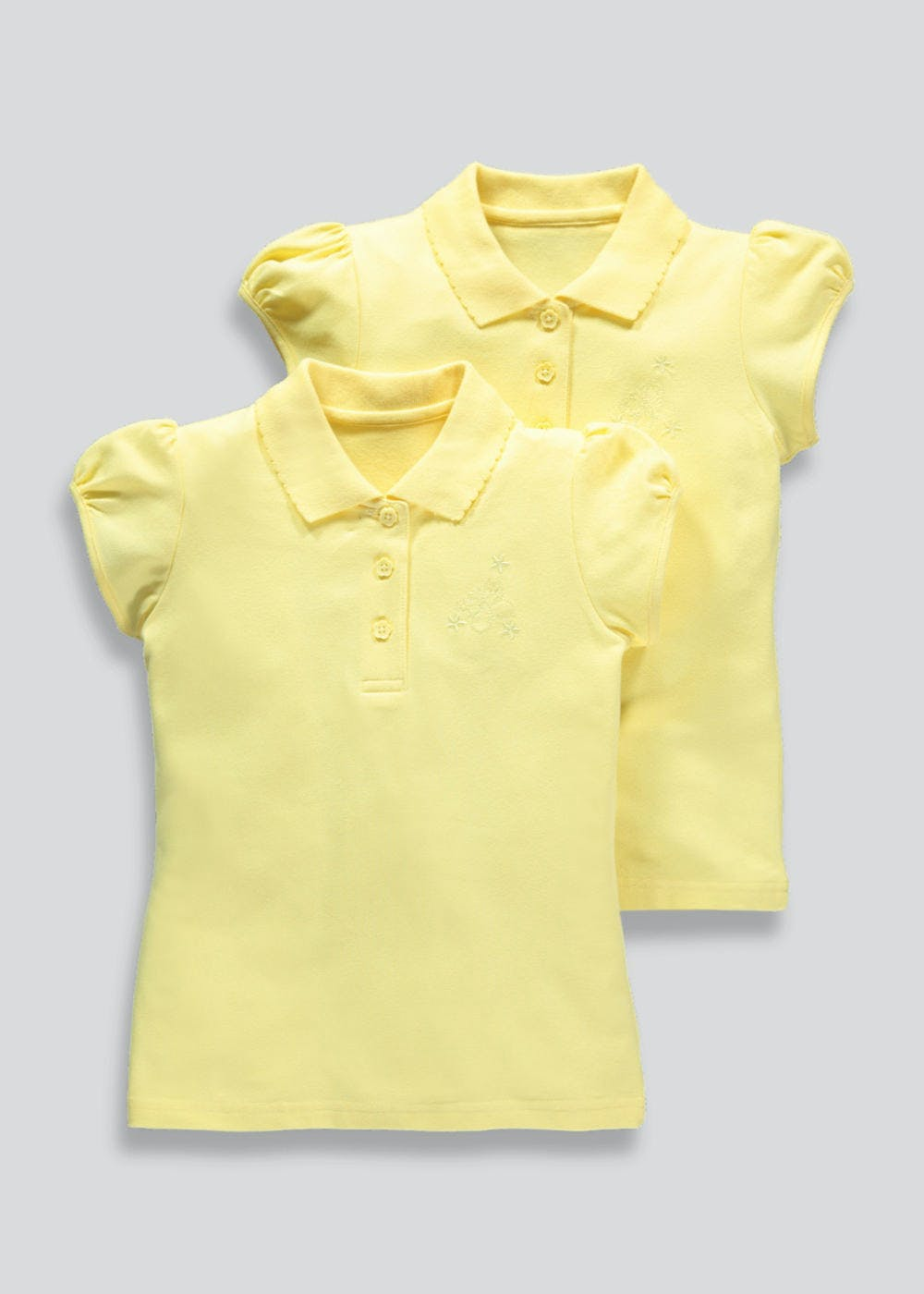 Girls 2 Pack Embroidered School Polo Shirts (3-13yrs) – Yellow – Matalan ada9e1ee7