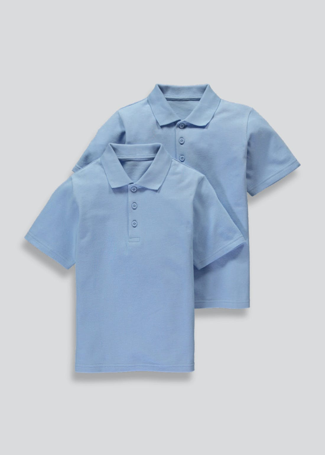 Kids 2 Pack Light Blue School Polo Shirts (3-16yrs)