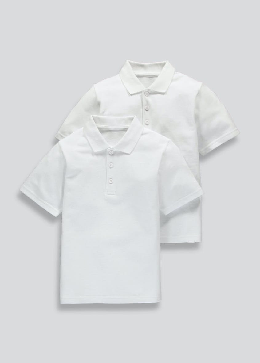 Kids 2 Pack White School Polo Shirts (3-16yrs)
