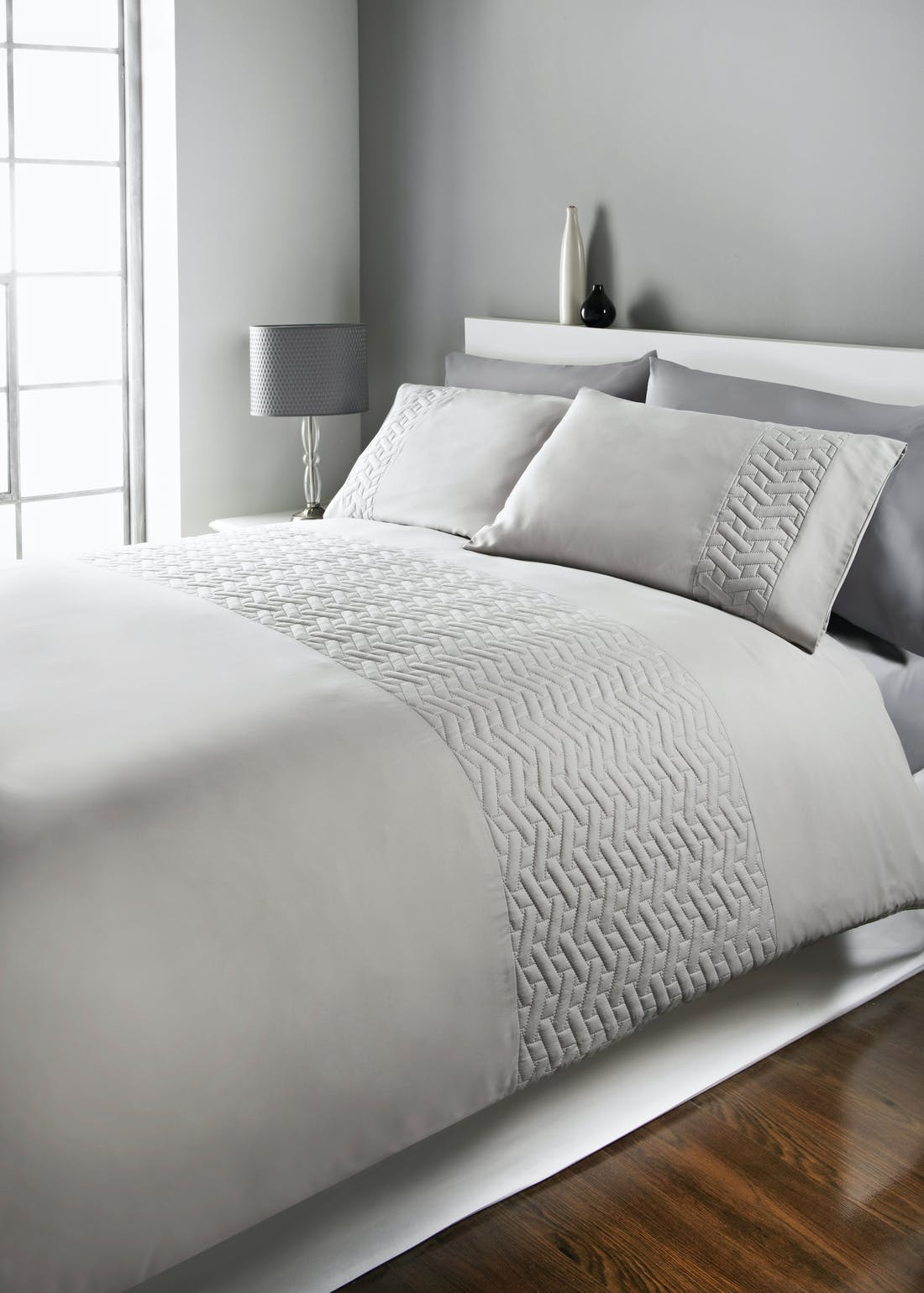 Quilted Geometric Pinsonic Panel Duvet Cover