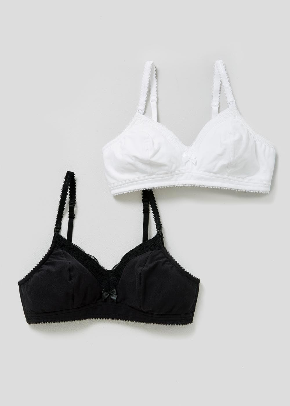 46ade8b3d0a 2 Pack Non-Wired Non-Padded Maternity Bras – Black – Matalan