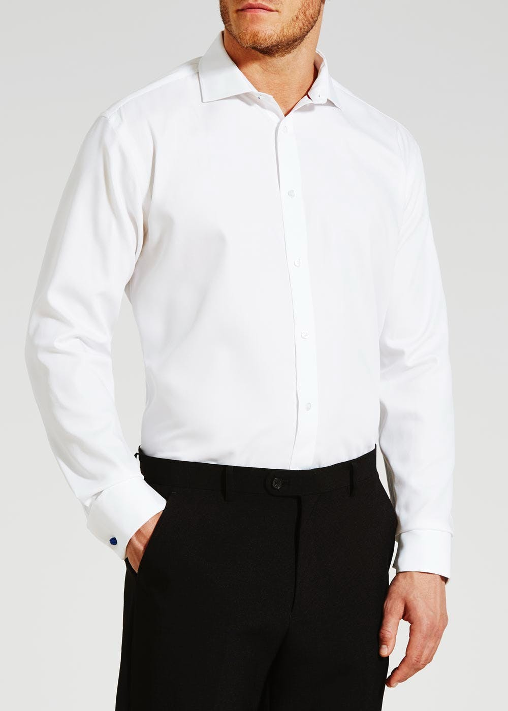 Non iron regular fit white twill shirt matalan for Mens formal white shirts