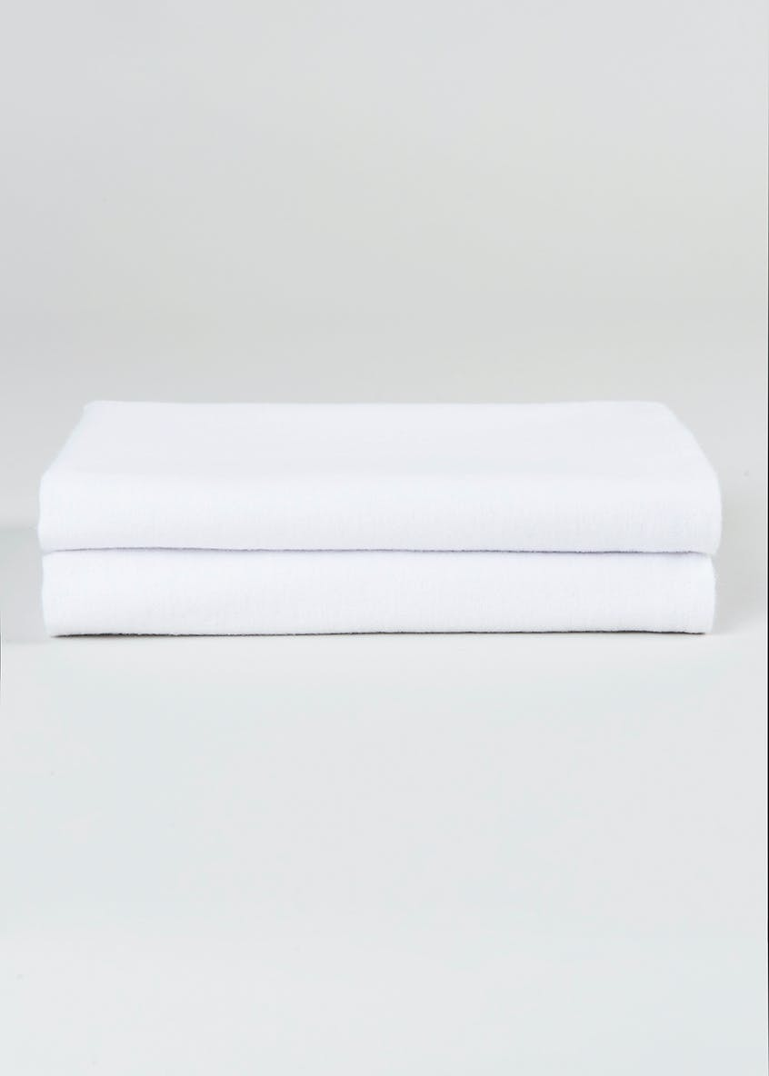 Unisex 2 Pack White Fitted Pram Sheets (30cm x 74cm)