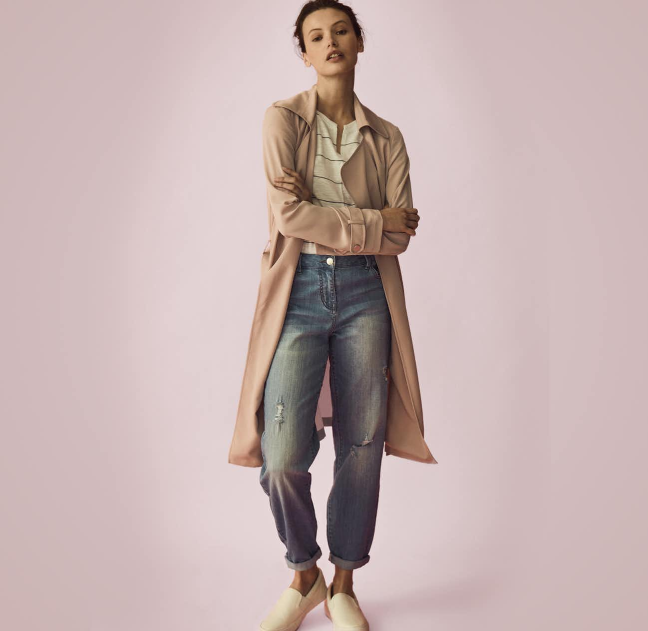 4c6a87abf148 Elevate almost any outfit and layer your trench coat over a basic tee,  denim and pumps for a dress down vibe. Perfect for a day out to the park or  shopping ...