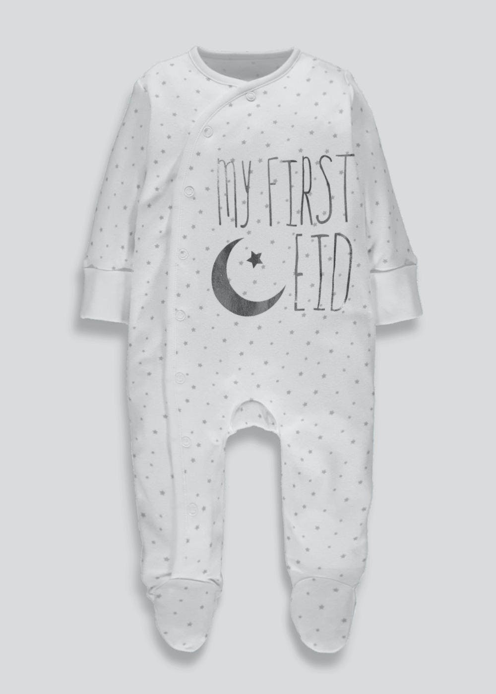 9d4677dcf Unisex My First Eid Sleepsuit (Tiny Baby-18mths) – White – Matalan