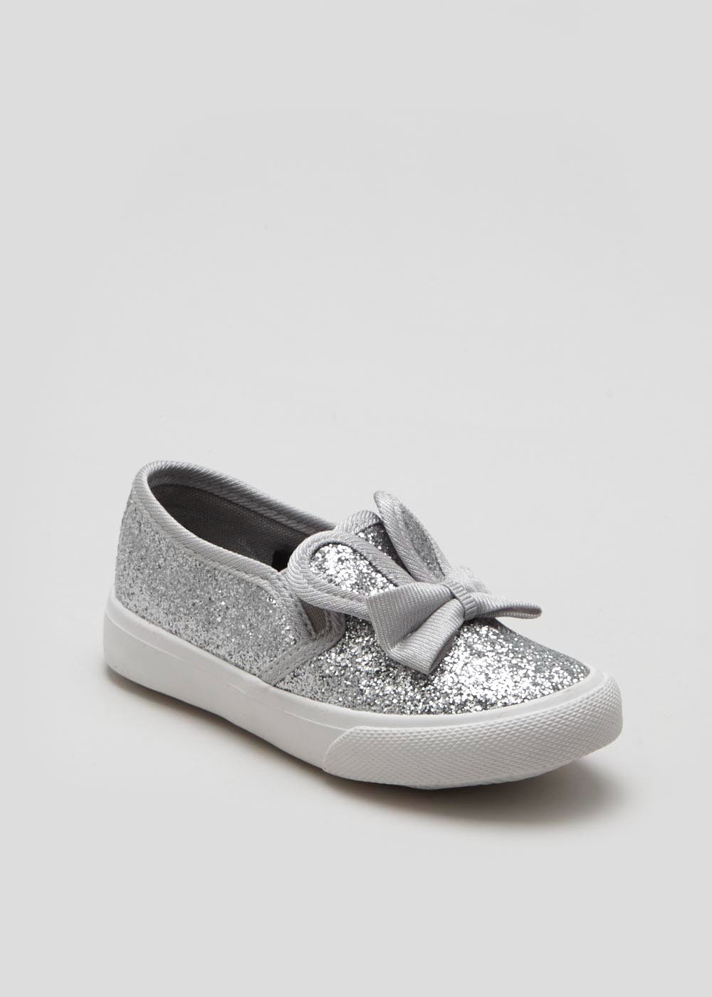26736dbcc733 Girls Bunny Slip On Pumps (Younger Kids 4-12) – Silver – Matalan