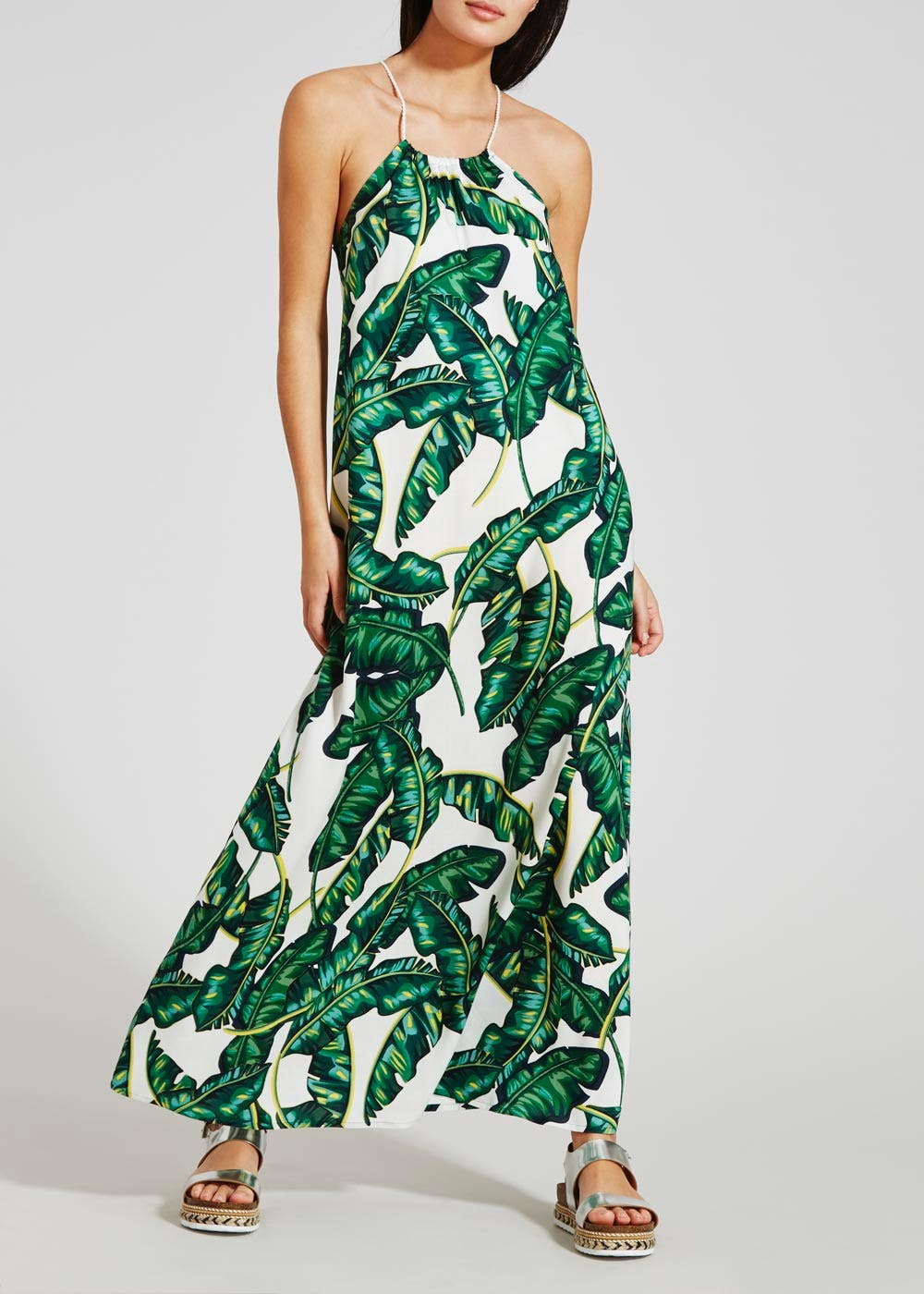 Leaf Print Maxi Dress – Green – Matalan