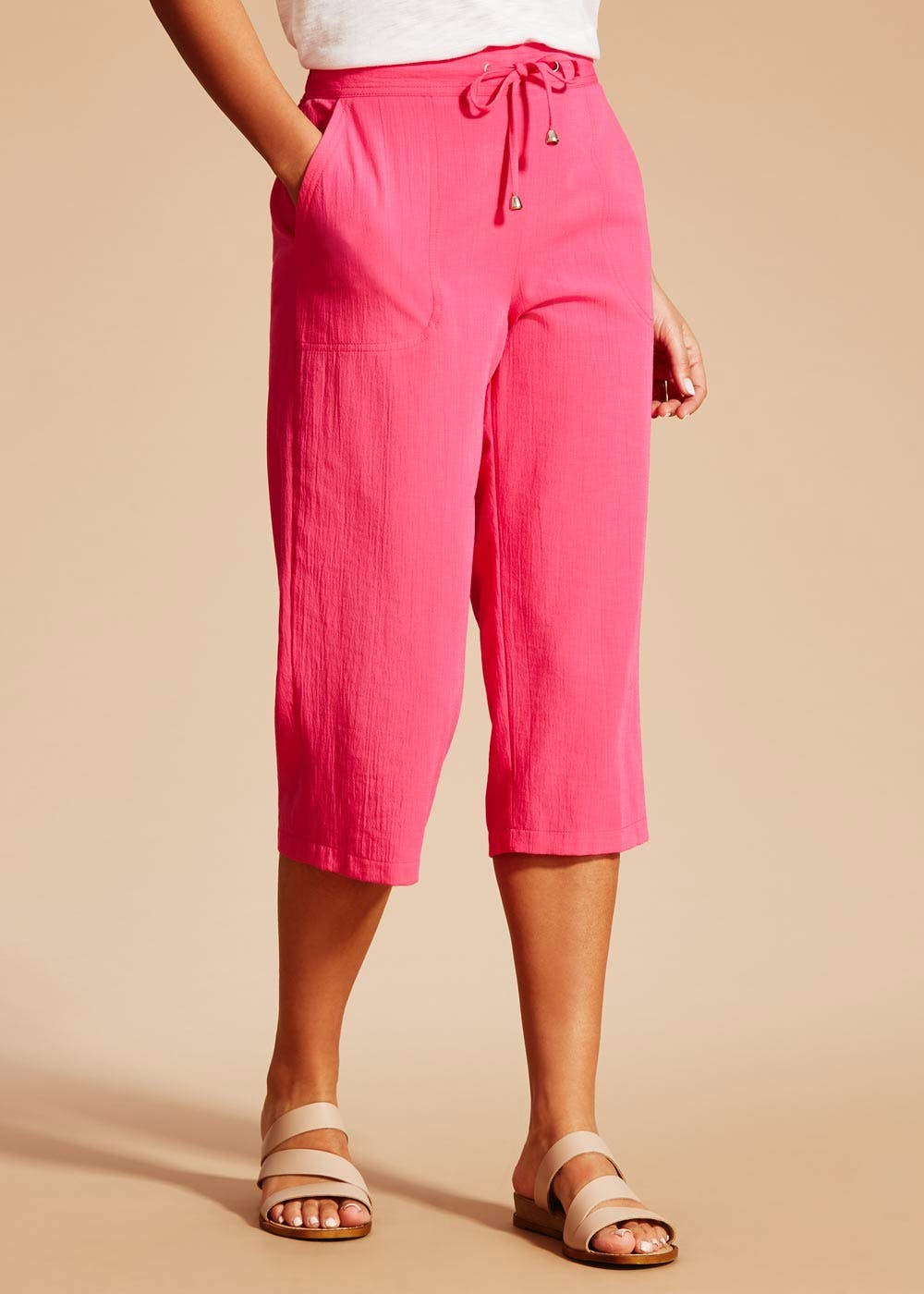 Clipper Cropped Trousers Pink Matalan