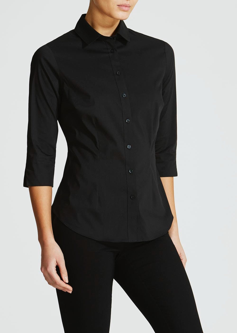 Black 3/4 Sleeve Fitted Shirt – Black