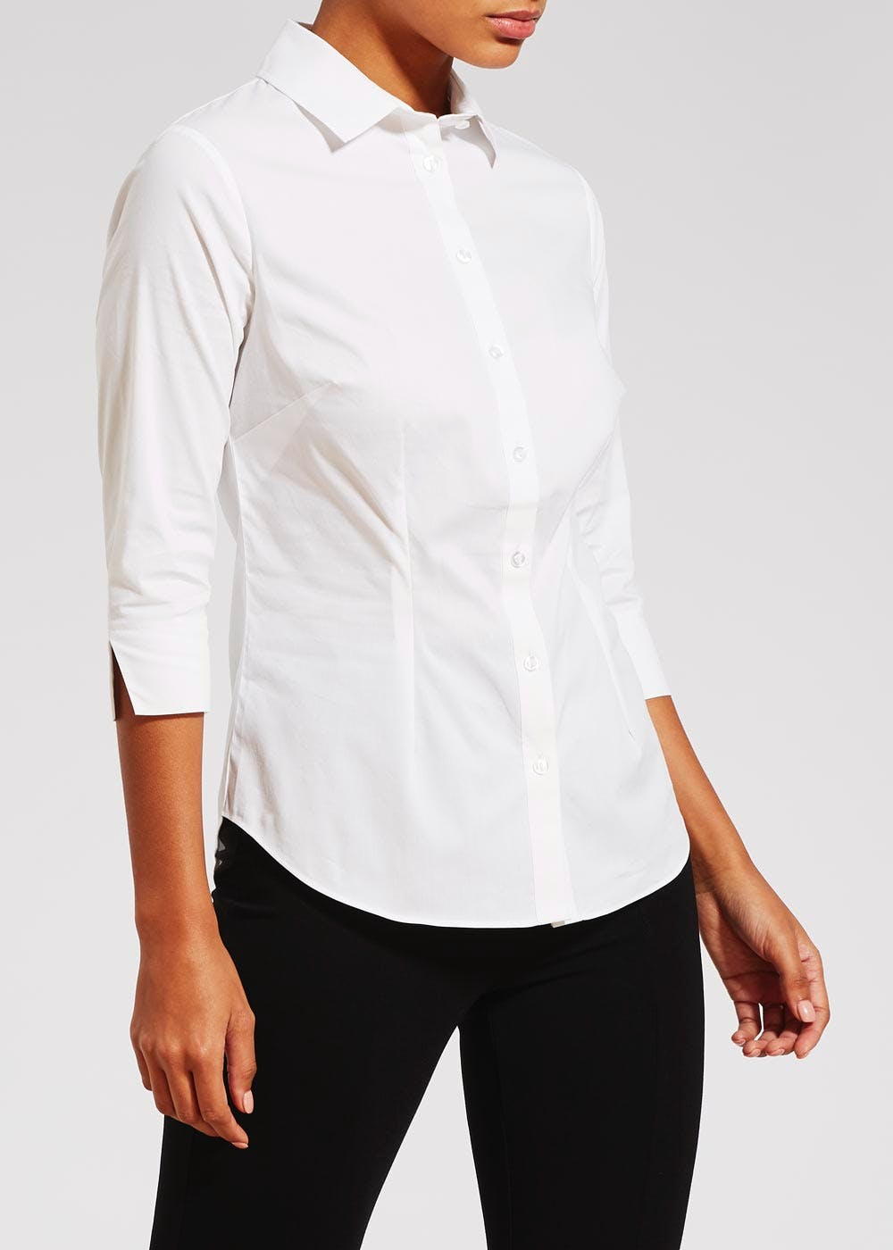White 3/4 Sleeve Fitted Shirt – White
