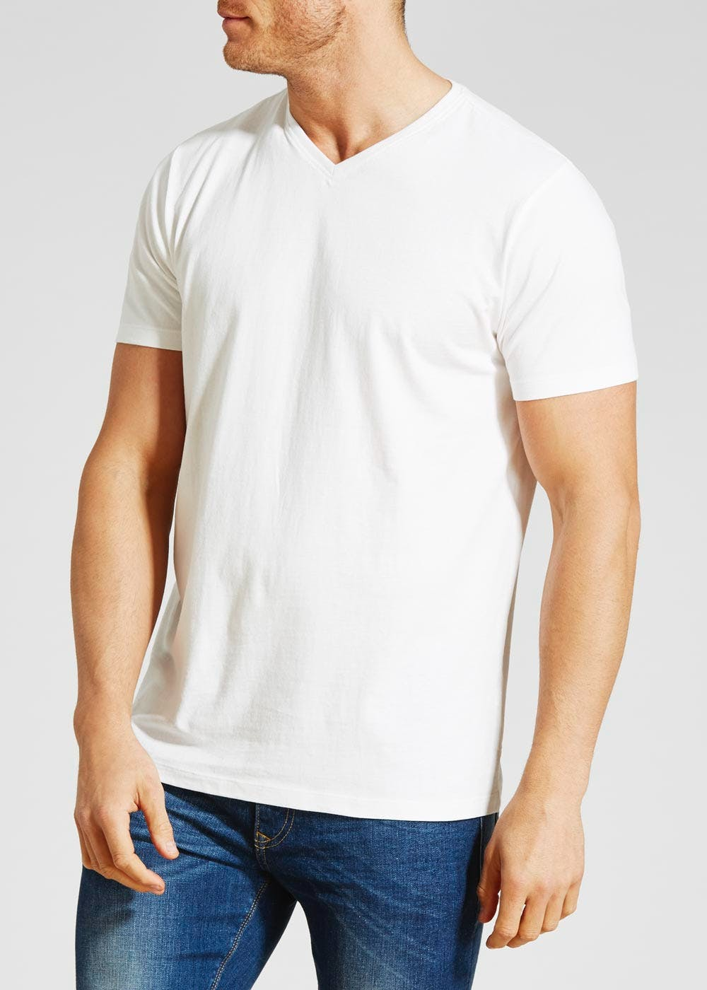 06aa1c33aa2e Basic V-Neck T-Shirt – White – Matalan