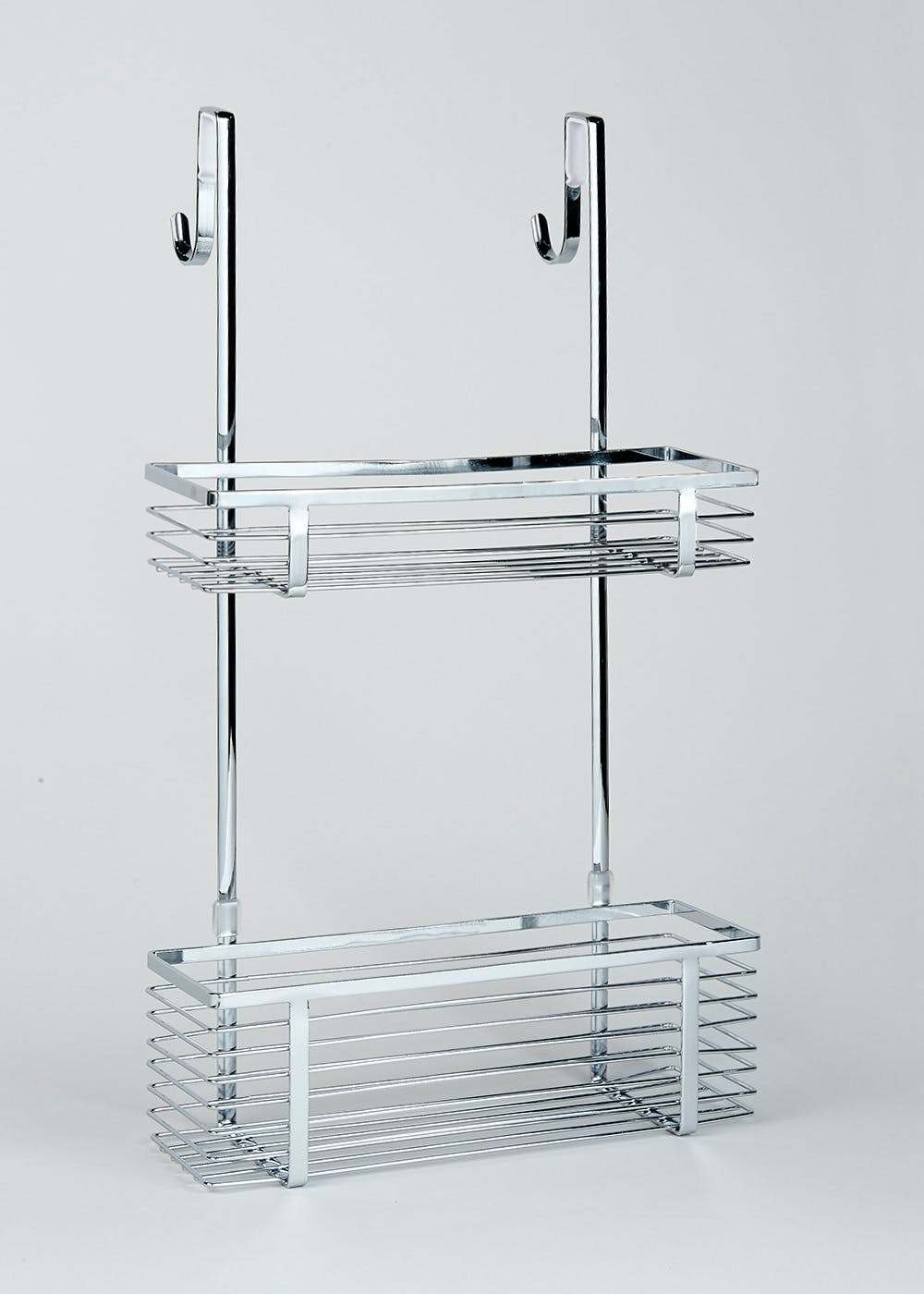 Chrome Over Shower Door Caddy 51cm X 30cm X 10cm Metallic Matalan