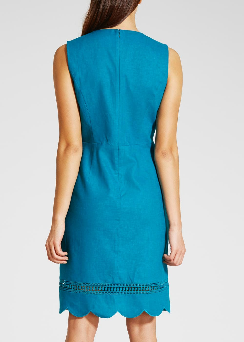 Scallop Hem Linen Dress – Teal – Matalan