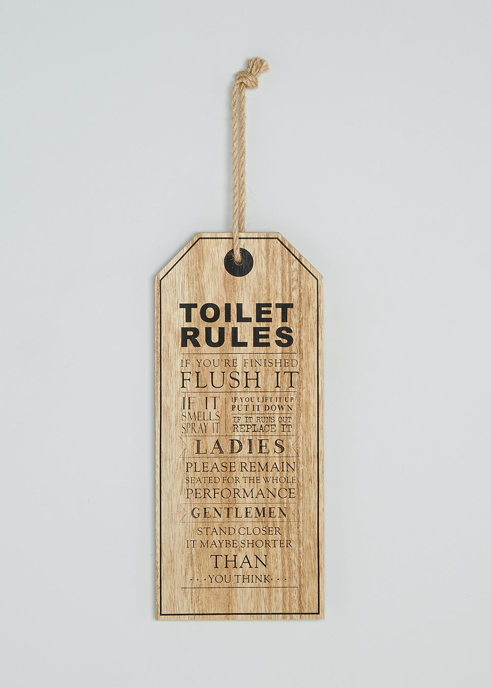 Toilet Rules Wall Decoration (40cm x 17cm)
