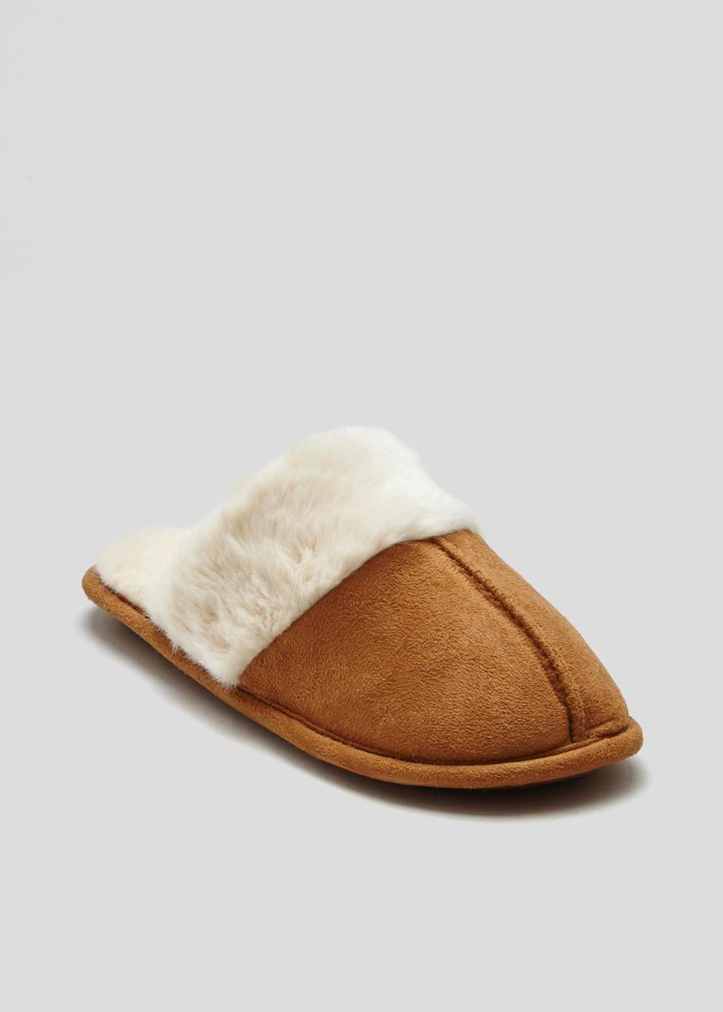 Faux Fur Trim Mule Slippers