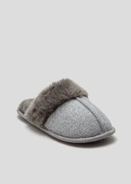 Faux Fur Trim Mule Slipper