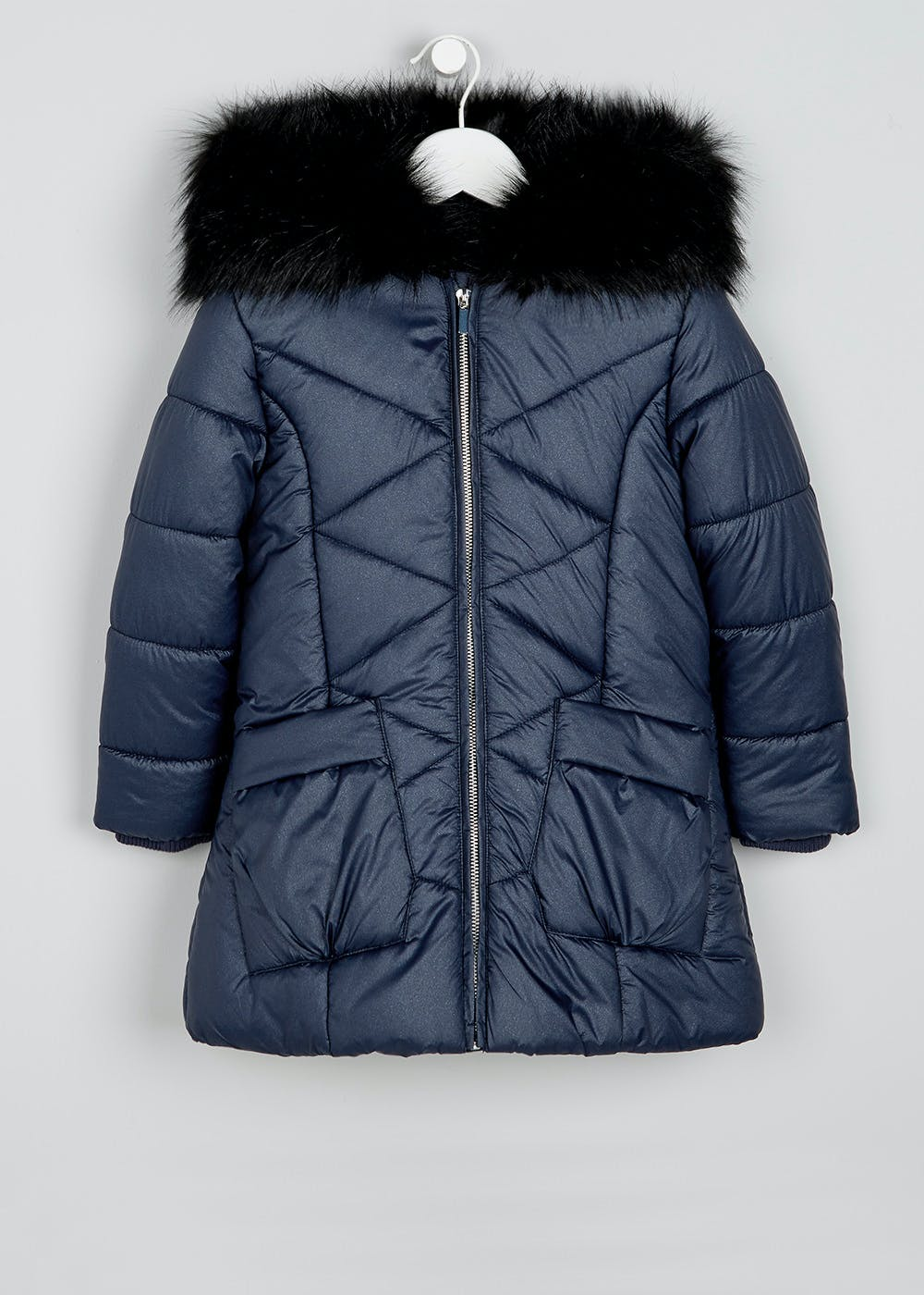 Girls Shimmer Quilted Coat 3 13yrs Navy Matalan