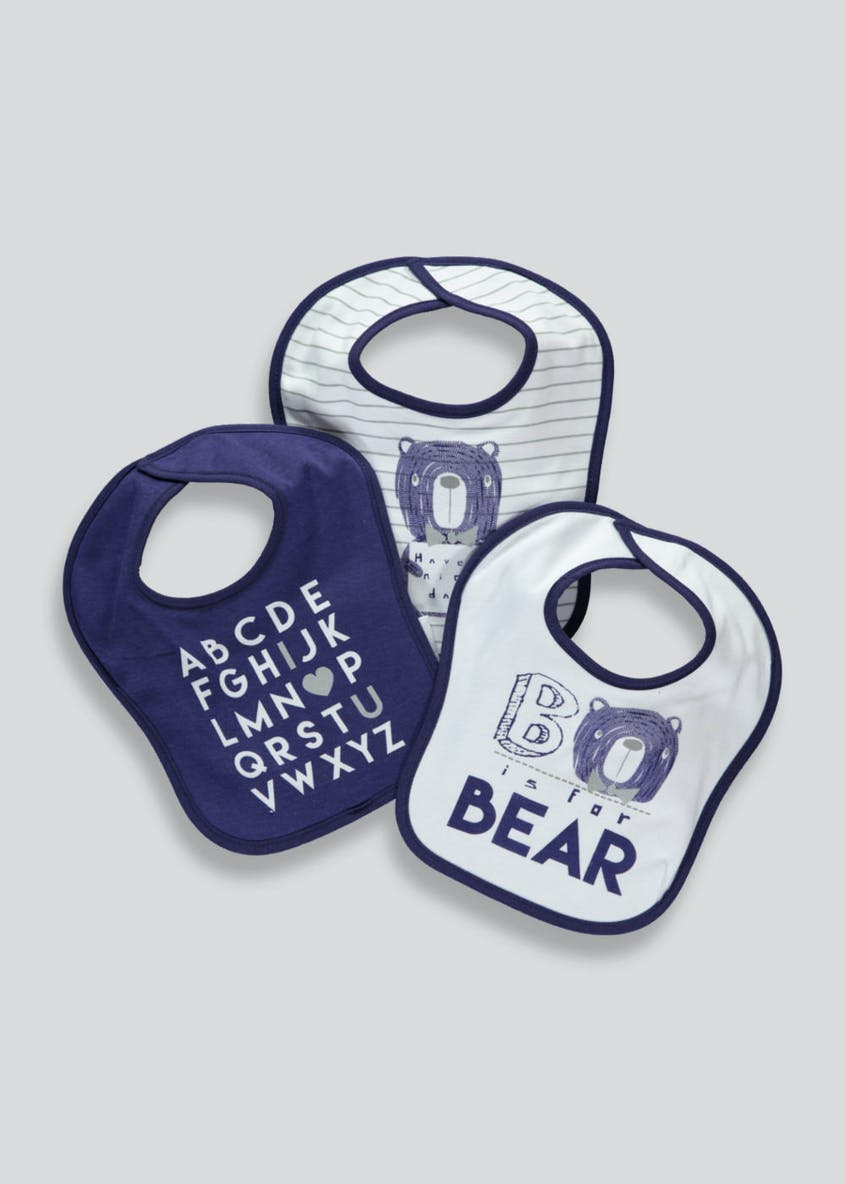 3 Pack Bear Bibs (One Size)