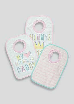 Girls 3 Pack Pop Over Bibs (One Size)
