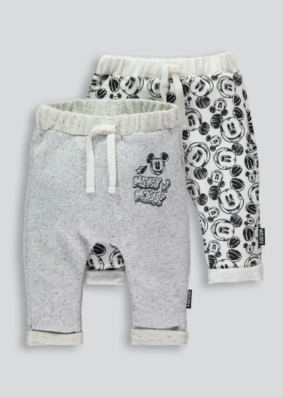 Boys Mickey Mouse 2 Pack Jogging Bottoms (Newborn-18mths)