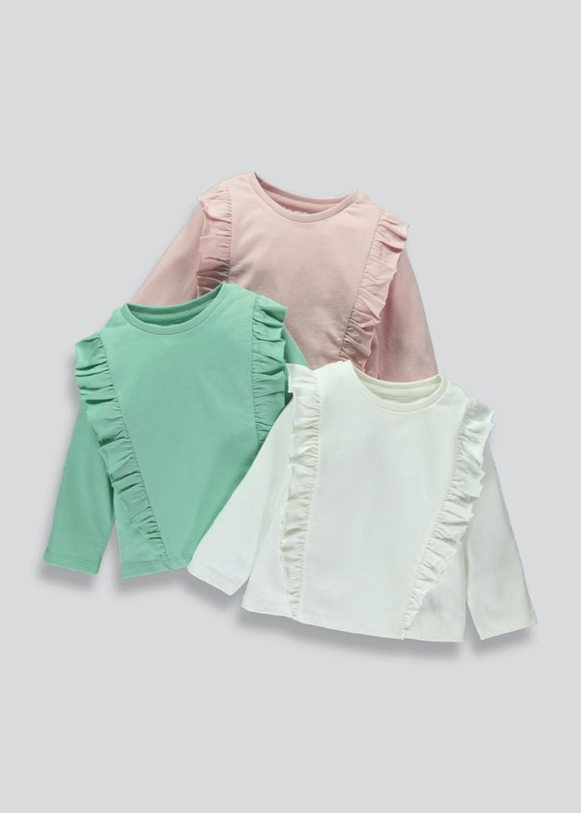 Girls 3 Pack Ruffle Tops (3mths-5yrs)