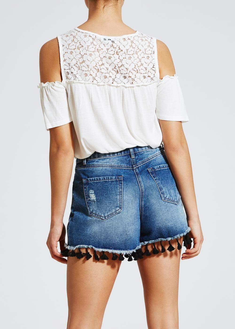 Embroidered Lace Cold Shoulder Top – Cream – Matalan
