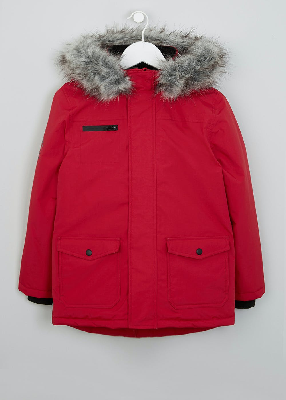 72615dfd1 Boys Hooded Parka (3-13yrs) – Red – Matalan