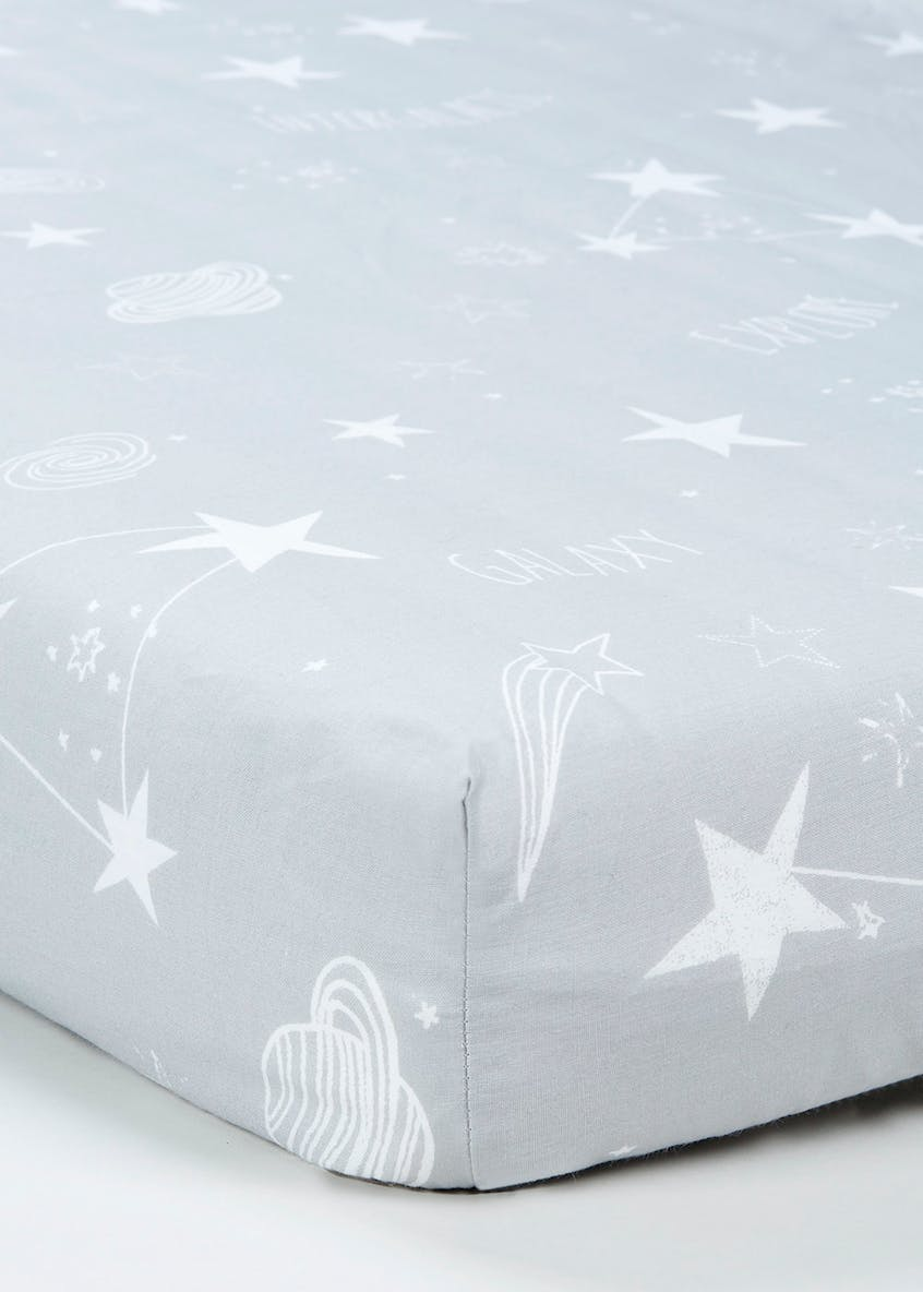 Kids 100% Cotton Space Fitted Sheet