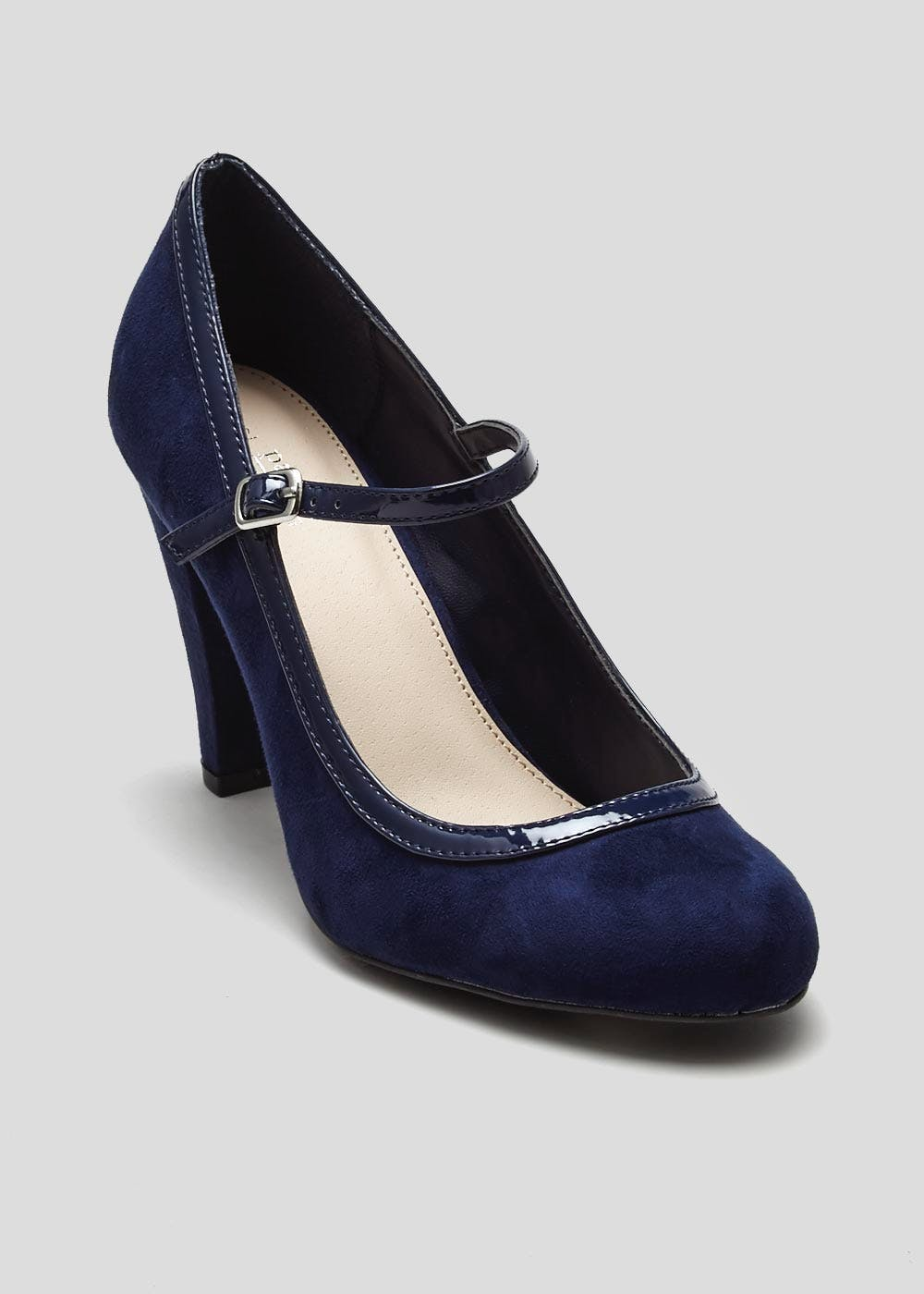 ec5f2b24c4c Wide Fit Mary Jane Court Shoe – Navy – Matalan