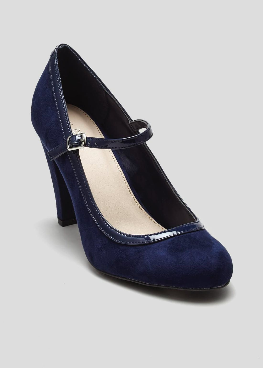 Wide Fit Navy Mary Jane Court Shoes
