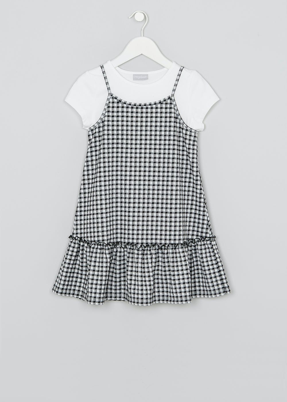 Girls Gingham Dress Amp T Shirt Set 3 13yrs Black Matalan