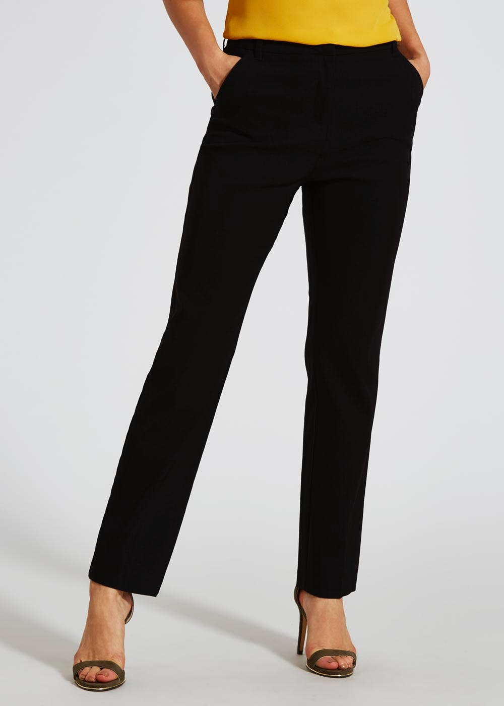Bengaline Slim Fit Trousers 29 Inch Leg Black Matalan