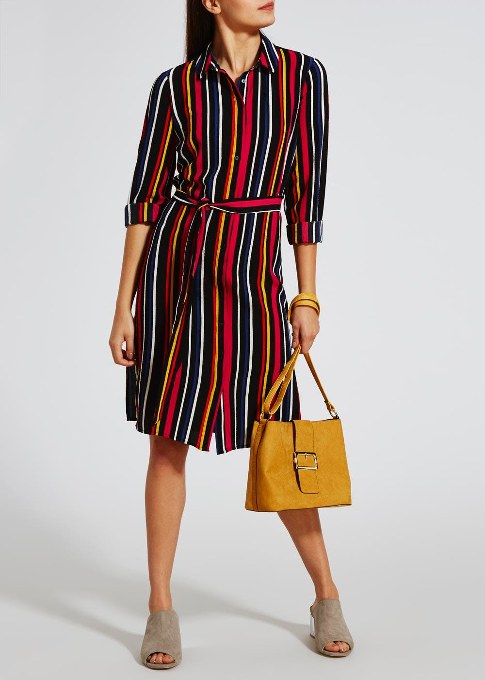 Stripe Shirt Dress – Multi – Matalan