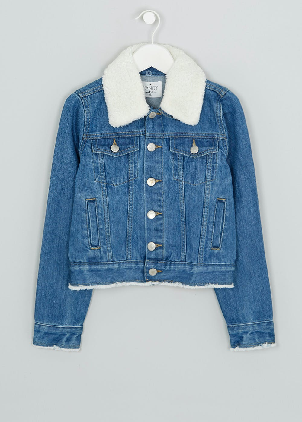 Girls Candy Couture Denim Jacket (9-16yrs) – Cream – Matalan