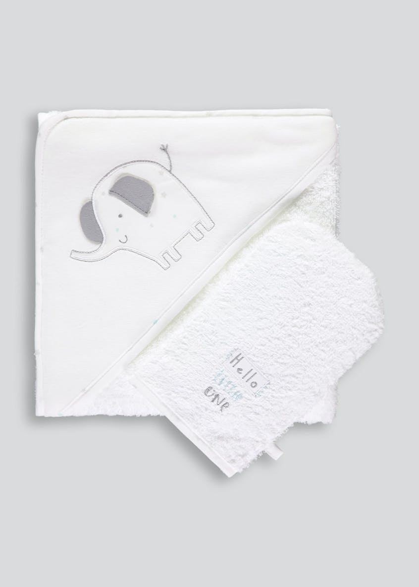 Hooded Baby Towel & Wash Mitt (One Size)