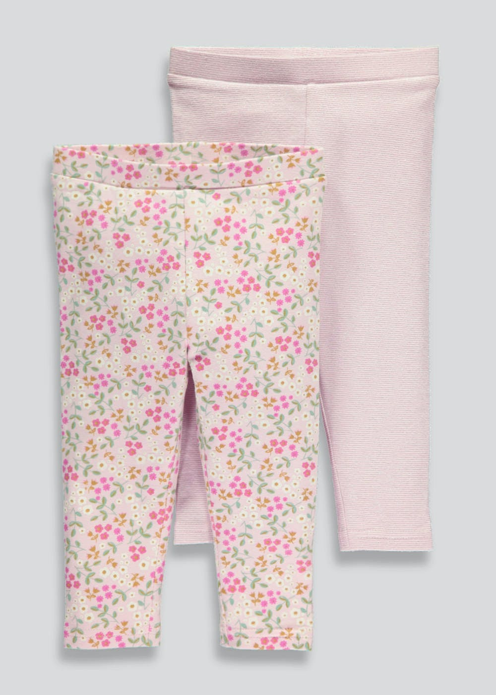 a2e8a3e7c5dff Girls 2 Pack Leggings (3mths-5yrs) – Pastel Pink – Matalan