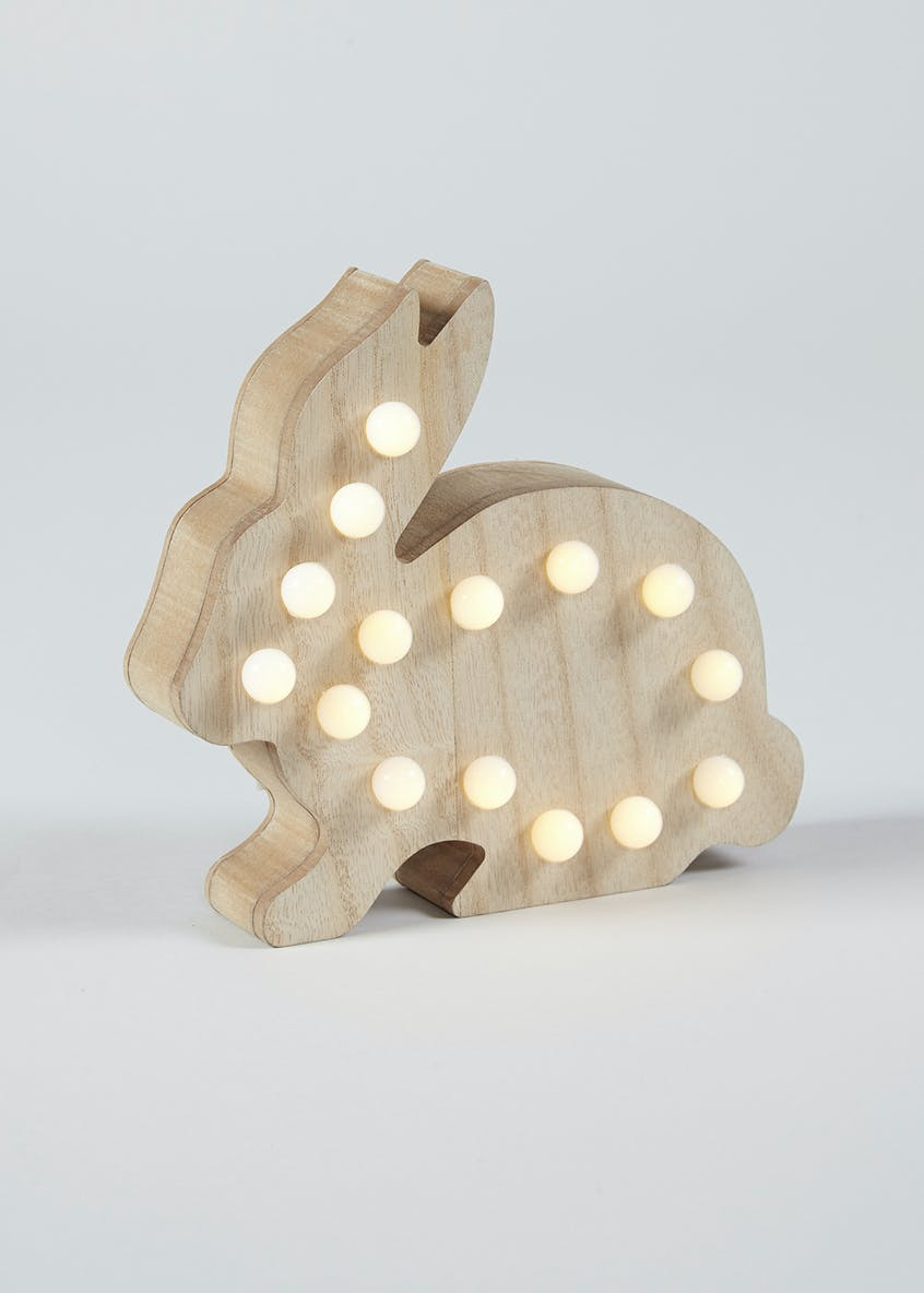 Kids Wooden Rabbit Shaped LED Light (18cm x 18cm)
