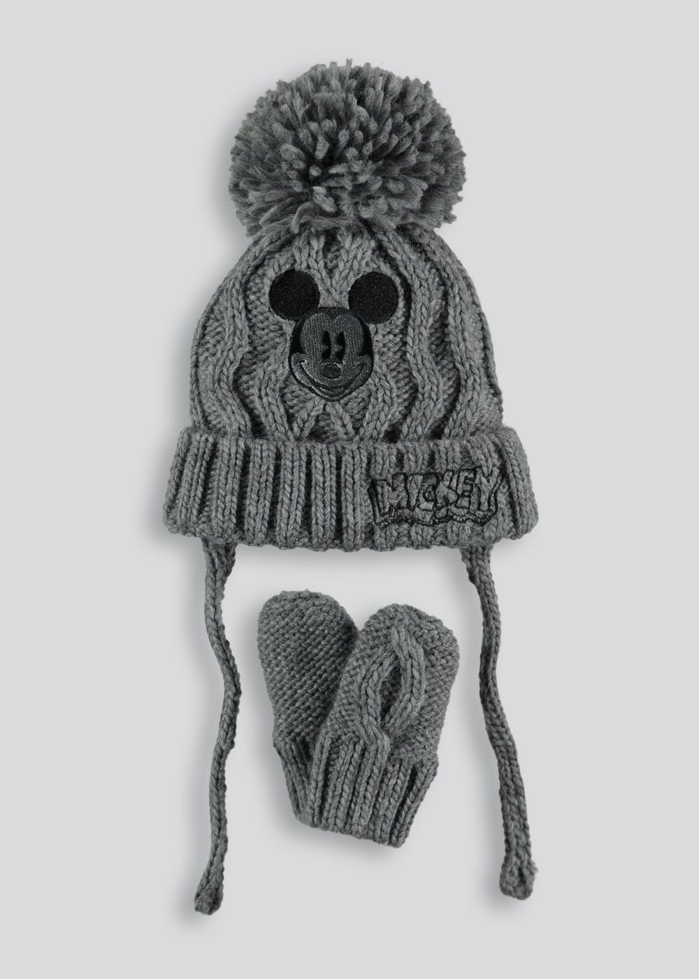 2128ee5c Kids Mickey Mouse Bobble Hat And Mittens (Newborn-23mths) – Grey ...