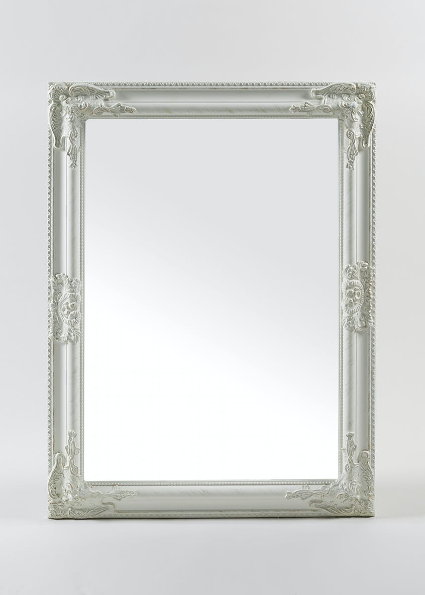 rectangle renaissance mirror 80cm x 60cm white matalan