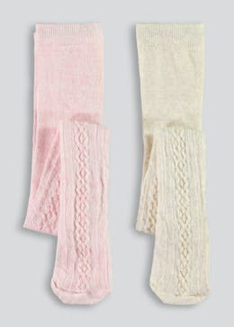 Girls 2 Pack Cable Knit Tights (Newborn-4yrs)
