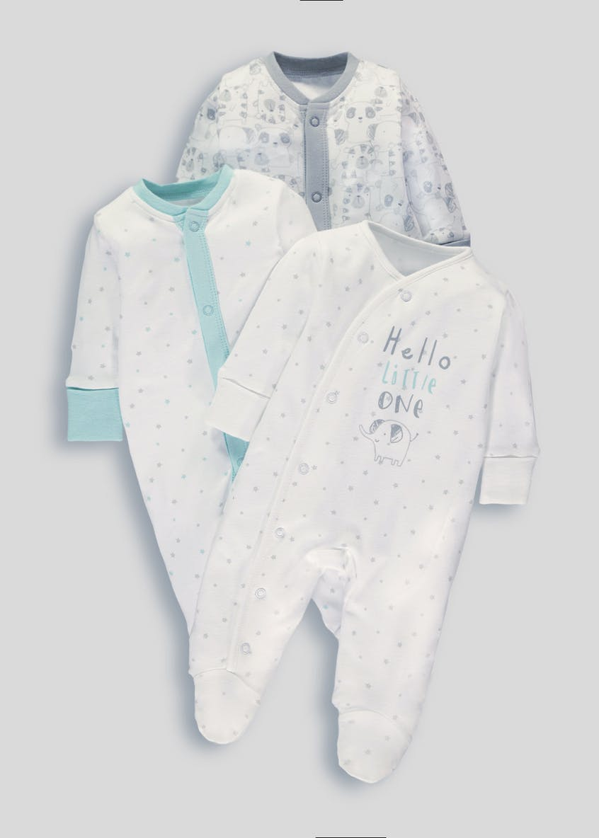 Unisex 3 Pack Sleepsuits (Tiny Baby-12mths)