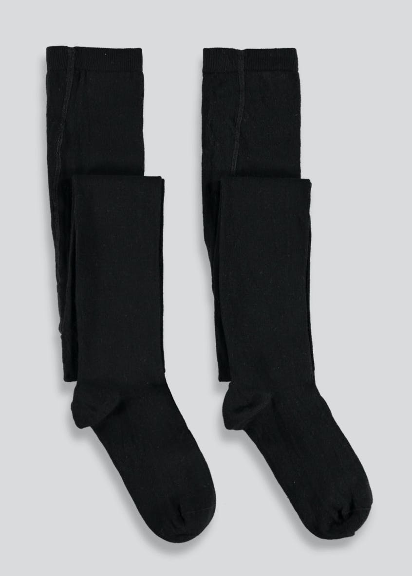 Girls 2 Pack Cotton Tights (2-13yrs)