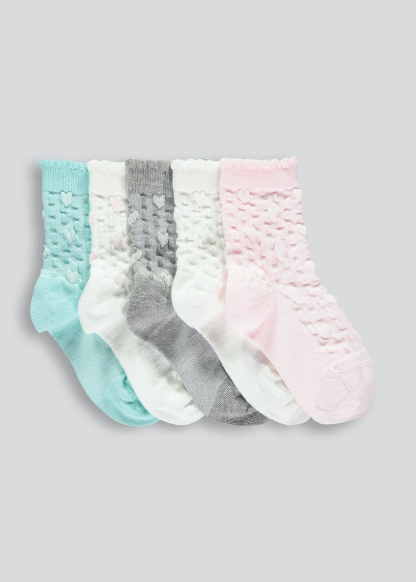 Girls 5 Pack Cable Socks (Newborn-8.5)