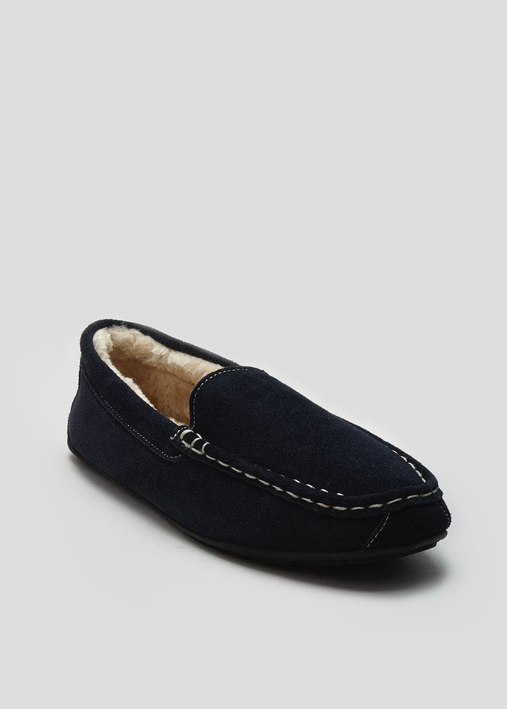 3543fbe22dc Real Suede Moccasin Slipper – Navy – Matalan